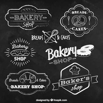 Bakkerij badges in schoolbord stijl