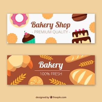 Bakkerij banners in vlakke stijl