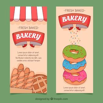 Bakkerij banners met brood en donuts in vlakke stijl