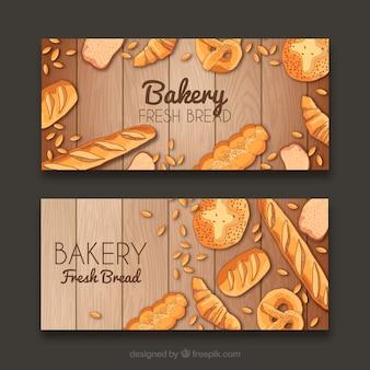 Bakkerij banners met gebak en brood