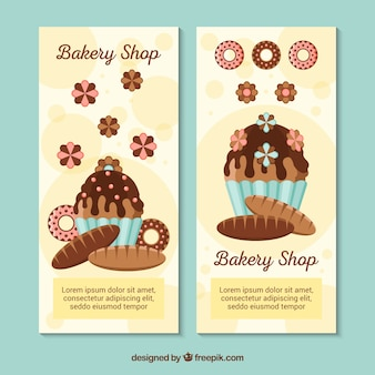 Bakkerij banners met snoep en brood in vlakke stijl