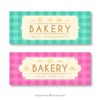 Bakkerij banners met snoep en brood
