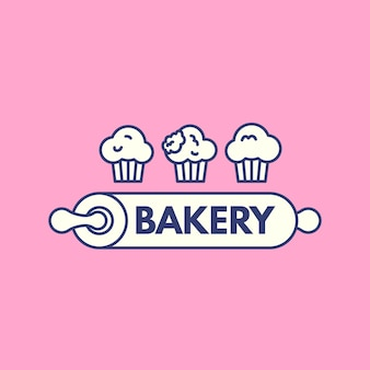 Bakkerij cake logo ontwerp met cupcake