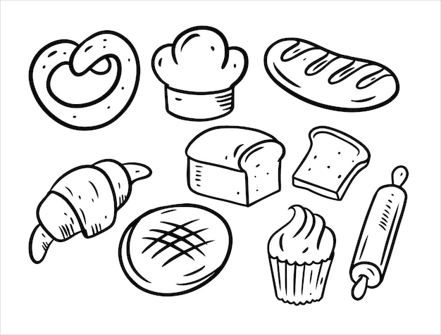 Bakkerij doodles elementsset geïsoleerd op wit