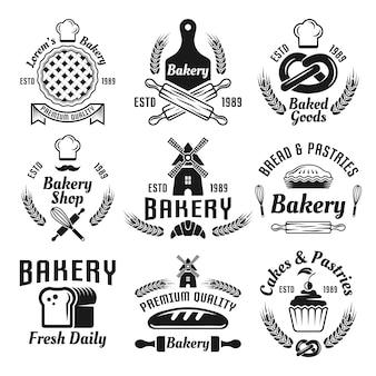 Bakkerij en gebak set vector monochroom etiketten, insignes, emblemen geïsoleerd op wit