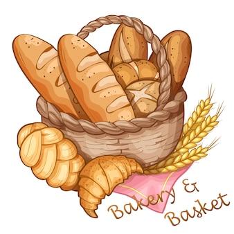 Bakkerij en mand hand tekenen, vector illustratie