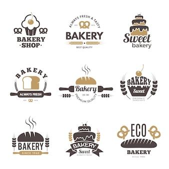 Bakkerij etiketten. koken symbolen keuken illustraties voor logo ontwerp