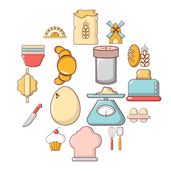 Bakkerij icon set, cartoon stijl