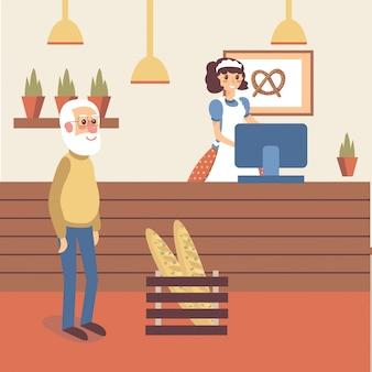 Bakkerij interieur met meisje verkoper karakter in schort staan achter de toonbank. oude mensenkoper die zich met gelukkige glimlach bevindt. platte cartoon.