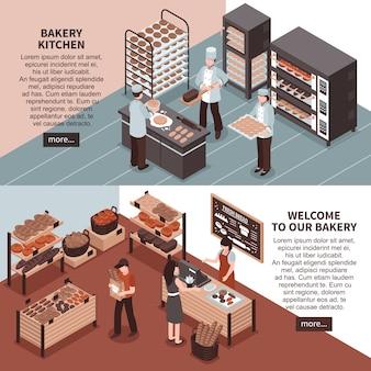 Bakkerij keuken en bakkerij winkel isometrische banners
