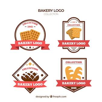 Bakkerij logo's collectie in vlakke stijl