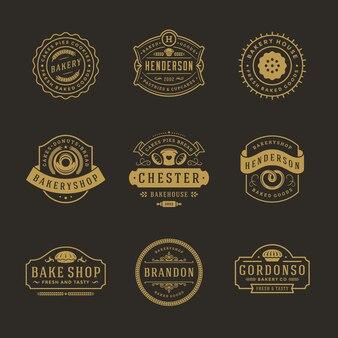 Bakkerij logo's en badges sjablonen ontwerpset