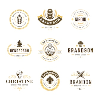 Bakkerij logo's en badges sjablonen set