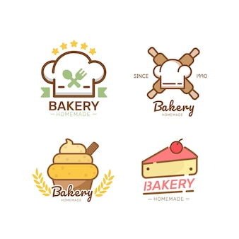 Bakkerij logo sjabloon bakkerij pictogram logo's badges etiketten pictogrammen