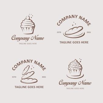 Bakkerij logo sjabloon collectie premium vector