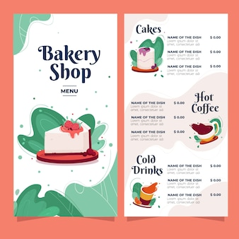 Bakkerij menu met snoep en drankjes