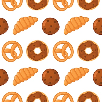 Bakkerij naadloos patroon. desserts voor café of patisserie.