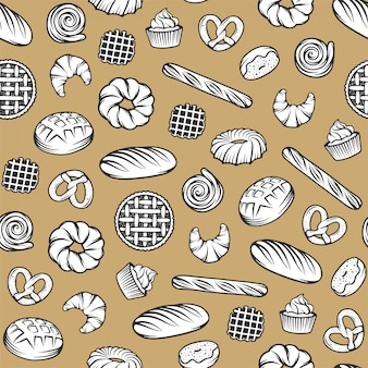 Bakkerij naadloos patroon met gegraveerde elementen. achtergrondontwerp met brood, gebakje, pastei, broodjes, snoepjes, cupcake