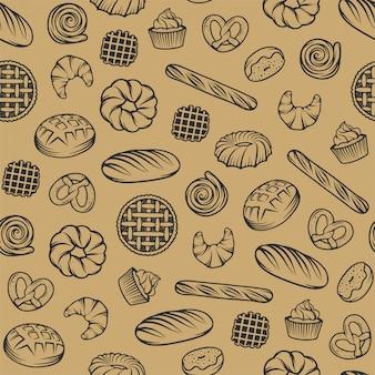 Bakkerij naadloos patroon met gegraveerde elementen