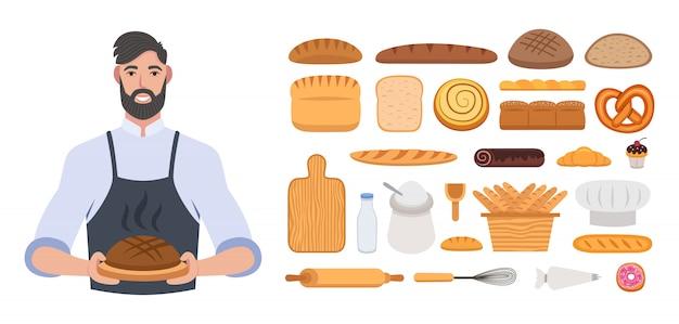 Bakkerij of bakker. baker man. brood set