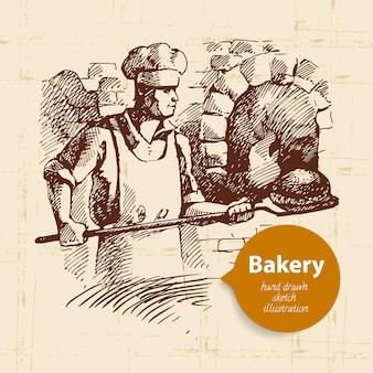 Bakkerij schets achtergrond. vintage handgetekende illustratie