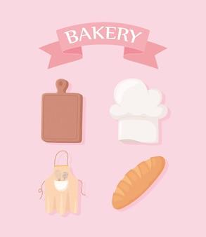 Bakkerij set snijplank hoed brood en schort illustratie
