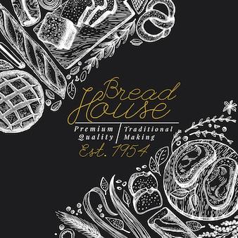 Bakkerij sjabloon bovenaanzicht. hand getrokken vectorillustratie met brood en gebak op schoolbord. vintage ontwerpsjabloon. kan gebruikt worden voor menu, verpakking.