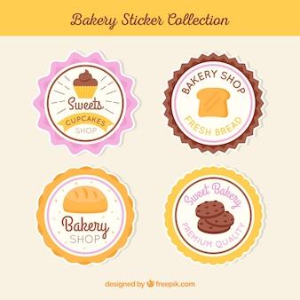 Bakkerij stickers collectie in vlakke stijl