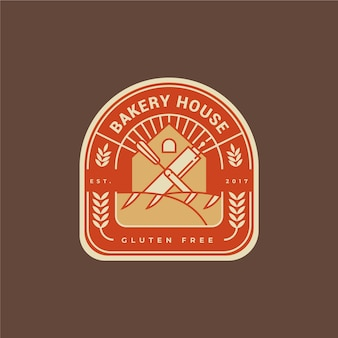 Bakkerij taart logo plat ontwerp