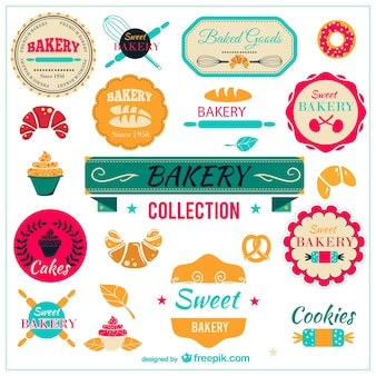 Bakkerij verzameling badges