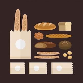 Bakkerij voedsel set. soorten bakkerijproductie.