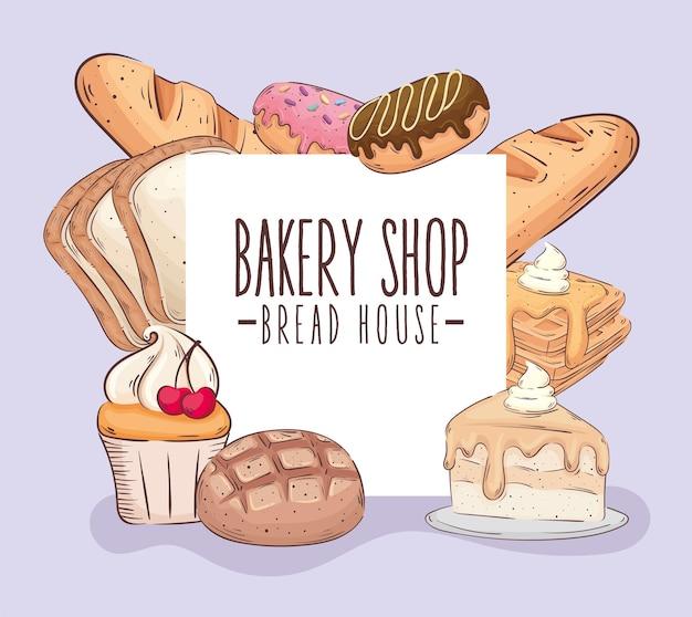 Bakkerij winkel belettering banner met gebak producten vector illustratie ontwerp