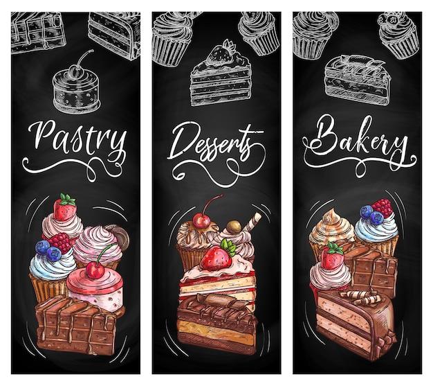 Bakkerij winkel gebak desserts schoolbord schets banners