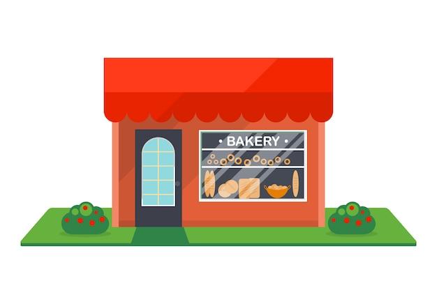 Bakkerij winkel gevel geïsoleerde pictogram