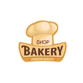 Bakkerij winkel icoon met chef-kok toque hoed, brood of gebak vector teken. bakkerij en patisserie café of banketbakkerij en cafetaria embleem met bakkershoed toque