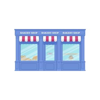 Bakkerij, winkel. illustratie. vintage winkel voorkant.