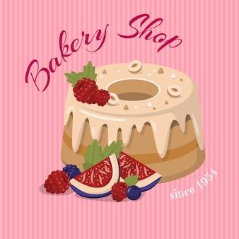 Bakkerij winkel kaart met noten cake en fruit