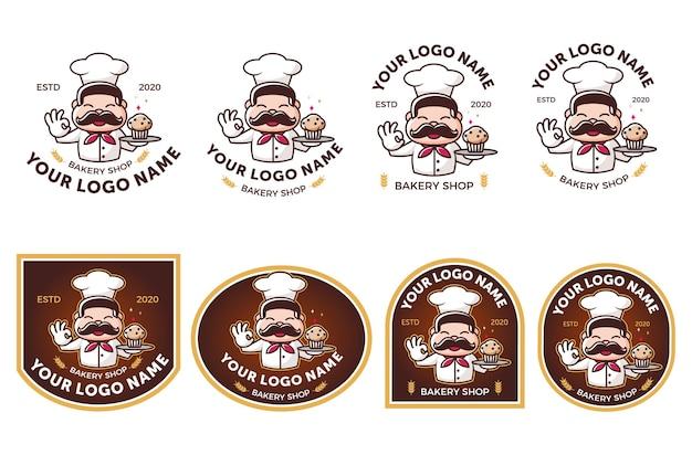 Bakkerij winkel logo set bundel