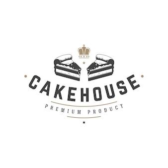 Bakkerij winkel logo sjabloon. object en pictogram voor gebak voedseletiket