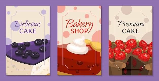 Bakkerij winkel menu banners. chocolade en fruitige desserts voor zoete cakewinkel met cupcakes
