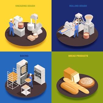 Bakkerij zoetwaren productieconcept 4 isometrische composities met kneden rollende deegmachines ovens brood bakken