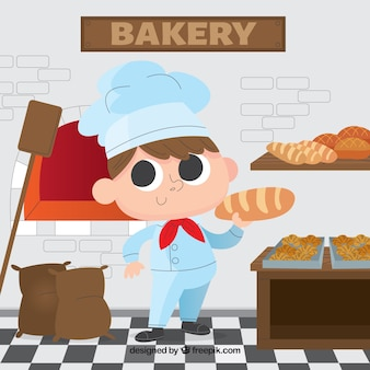 Bakkerijachtergrond met bakker in vlakke stijl