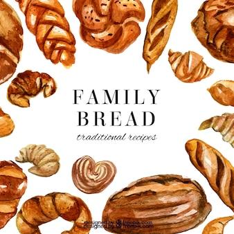 Bakkerijachtergrond met brood en gebakjes in waterverfstijl