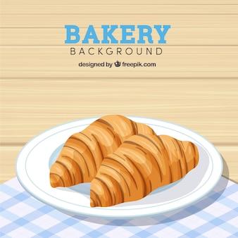 Bakkerijachtergrond met croissants in realistische stijl