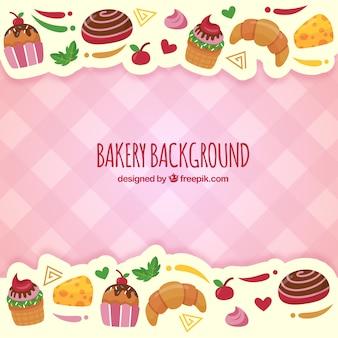 Bakkerijachtergrond met snoepjes in vlakke stijl