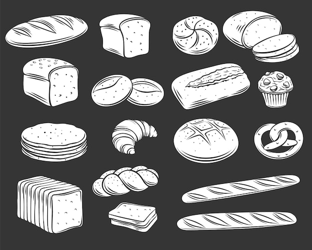 Bakkerijbrood glyph wit op zwart