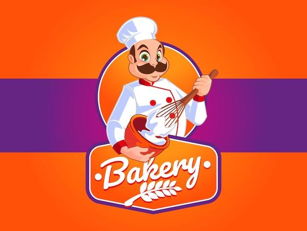 Bakkerijlogo met chef-kokmascotte