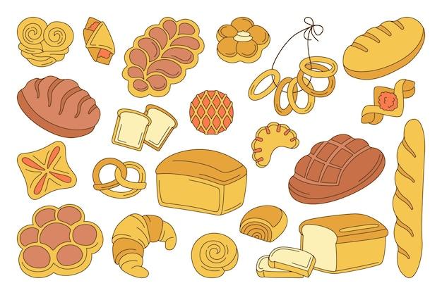 Bakkerijproducten cartoon set. lijnbroodbrood en stokbrood, krakeling, muffin, croissant, ciabatta