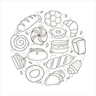 Bakkerijproducten getekend in de stijl van doodle
