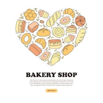 Bakkerijproducten in de vorm van een hart cartoon-stijl